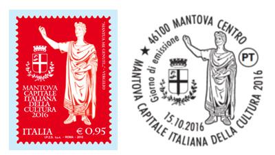 Francobollo celebrativo Mantova Capitale Italiana della Cultura 2016 e annullo timbro filatelico per annullo