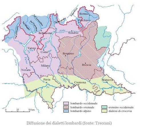 diffusione dialetti in Lombardia