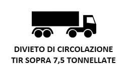 Divieto circolazione tir, camion, mezzi pesanti