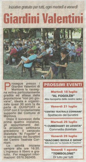 eventi Giardini Valentini Mantova 2017