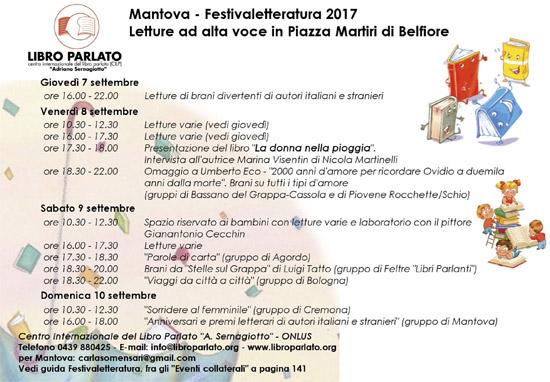 Programma letture Centro Internazionale del Libro Parlato Festivaletteratura 2017 Mantova