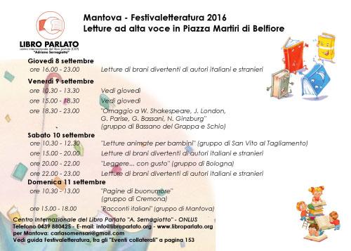 Programma Libro Parlato Festivaletteratura Mantova 2016