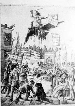 """Caricatura di Radetzky che fugge da Milano"""""""