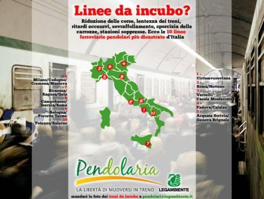 Pendolaria 2013 Legambiente treni peggiori Italia