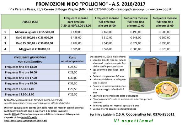 prezzi asilo nido Pollicino Cerese di Borgo Virgilio 2016 2017