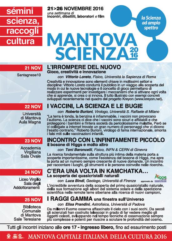 Programma Mantova Scienza 2016 eventi