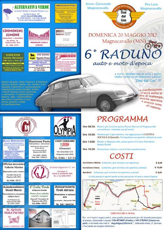 Programma Raduno Auto Moto d'Epoca 2012 Magnacavallo (Mantova)