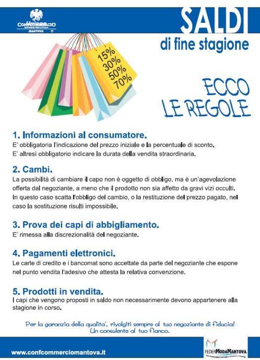 Regole saldi di fine stagione 2012 Mantova