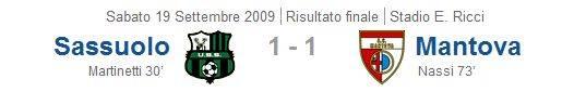 Serie B 2009-10, Giornata 5: Sassuolo-Mantova 1-1