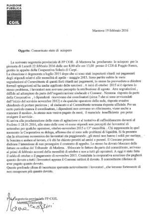 sciopero CDI Poggio Rusco (MN) 22 febbraio 2016