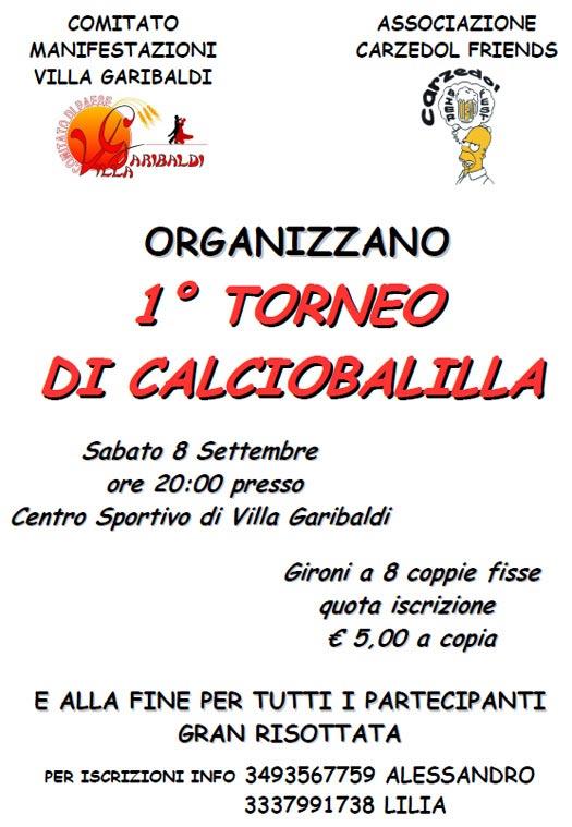 Torneo di Calciobalilla a Villa Garibaldi di Roncoferraro (Mantova)